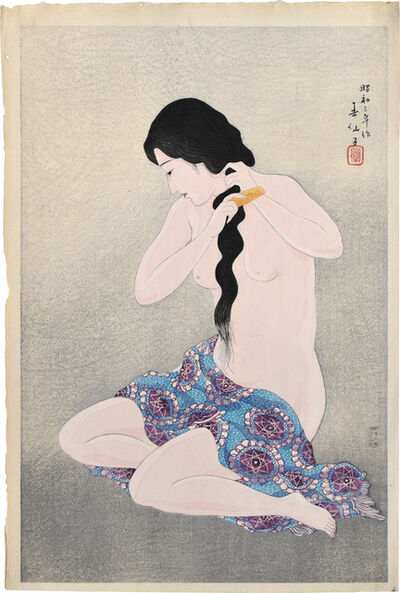 Natori Shunsen, 'Three Beauties by Shunsen: Combing her Hair', 1928