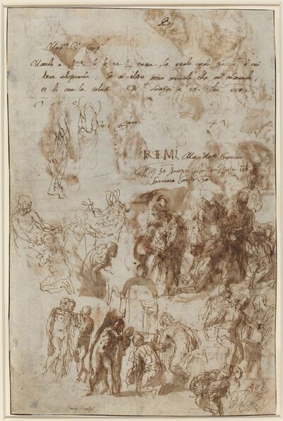 Paolo Veronese, 'Studies for the Raising of Lazarus and Other Compositions [verso]', ca. 1582