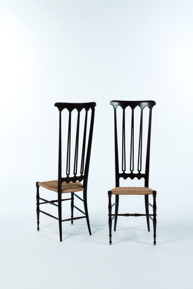 Travail Italien, 'Pair of high back Chiavari chairs in wood and rope', vers 1950