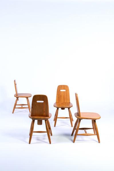 Eero Aarnio, 'Four pirtti chairs in pine', vers 1950