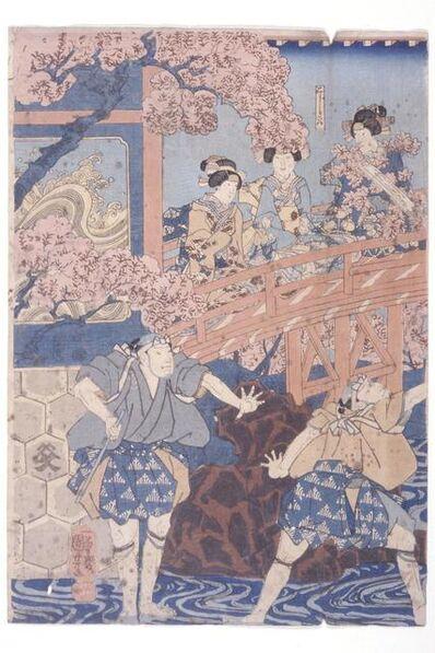 Utagawa Kuniyoshi, 'Bandō Hikosaburō Iv As Ashikaga Yoshimasa and Ichikawa Kodanji Iv As Asakura Tōgo From Kabuki Play, Higashiyama Sakura Sōshi', 1851
