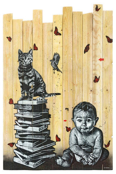 Jef Aérosol, 'BOOKS, CAT, BIRD AND BABY', 2017