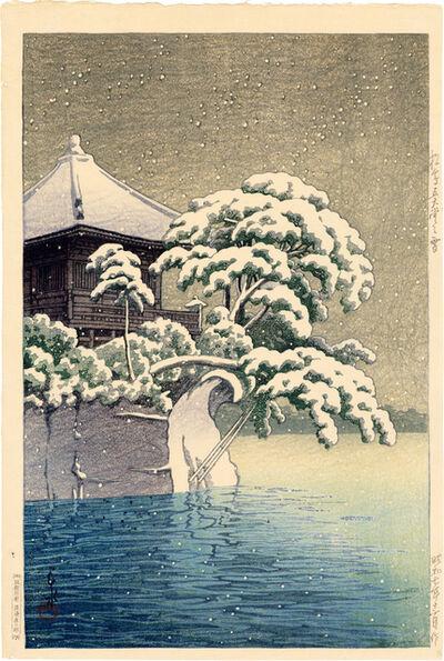 Kawase Hasui, 'Snow at Godaido Temple in Matsushima', 1932