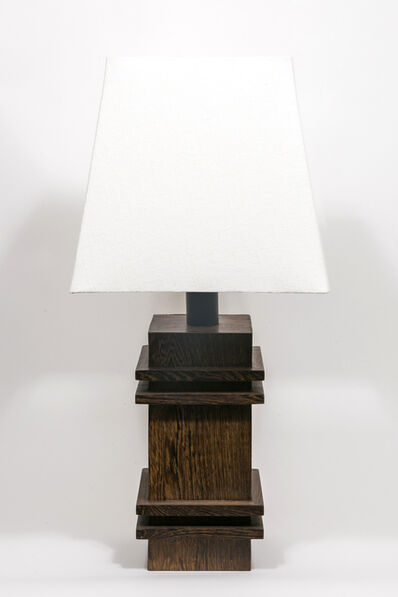 Jacques Adnet, 'Art Deco table lamp in palm wood with surrounding relief details ', ca. 1938