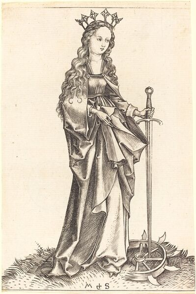 Martin Schongauer, 'Saint Catherine of Alexandria', ca. 1480/1490