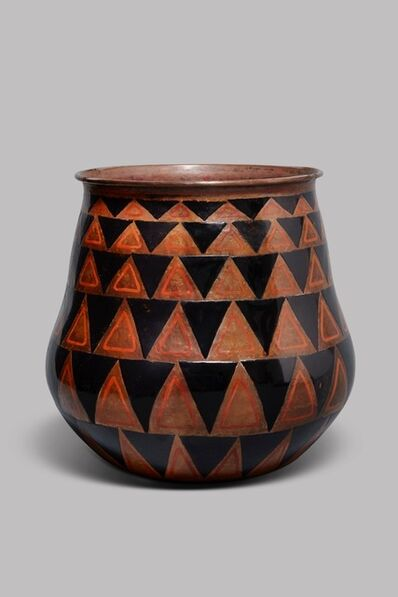 Jean Dunand, 'Enameled, hammered copper vase with a wide-mouth rim and a pattern of triangles, in red and black lacquer', ca. 1925