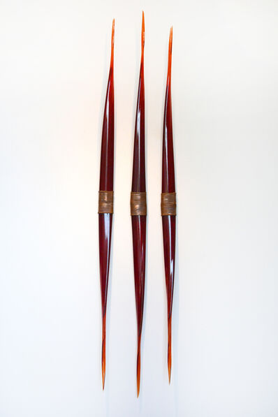 John Paul Robinson, 'Flame Symmetry - translucent, red, glass, copper, abstract wall sculpture', 2015