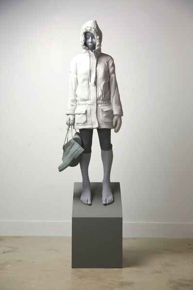 Nicholas Crombach, 'Pending Ice 2 of 3 - tall, figurative, female, greyscale, resin sculpture', 2014