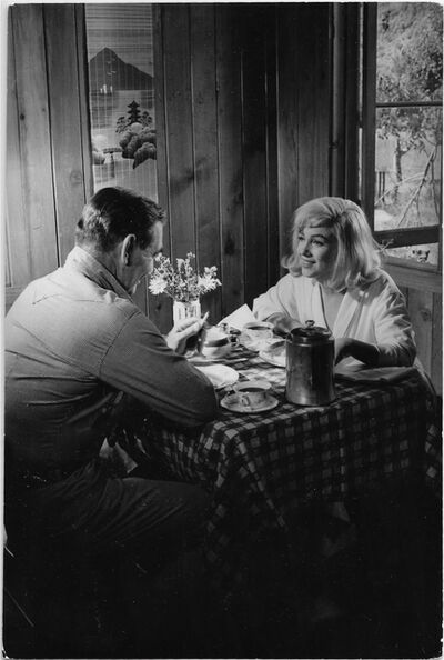 """Inge Morath, 'Marilyn and Clark Gable, on the set of  """"the Misfits""""', 1960"""