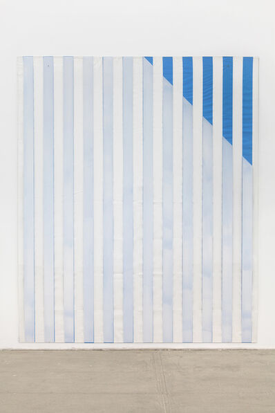 Daniel Buren, ' Paint On/Under Plexiglas on Serigraphy, Right Corner Up Out, No. 2 Blue, Situated Work', 2013