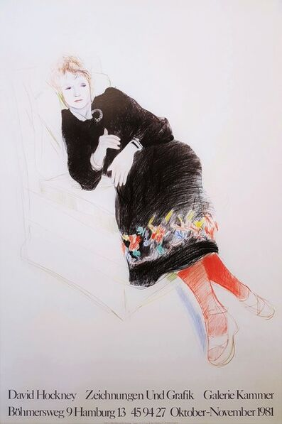 David Hockney, 'Galerie Kammer (Celia in a Black Dress and Red Stockings)', 1981