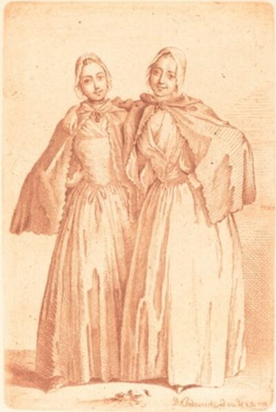 Daniel Nikolaus Chodowiecki, 'Two Standing Ladies (Demoiselles Quantin)', 1758