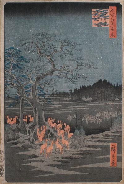 Utagawa Hiroshige (Andō Hiroshige), 'Foxfires on New Year's a Oji', 1857