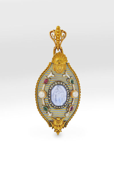 Alexis Falize, 'Enamelled gold gem and pearl-set pendant ', ca. 1860