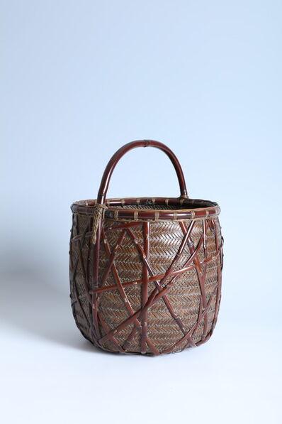 """Iizuka Rōkansai, '""""Companion of the Moon"""" Handled Flower Basket (T-2297)', Showa era (1926-1989) ca. 1934"""