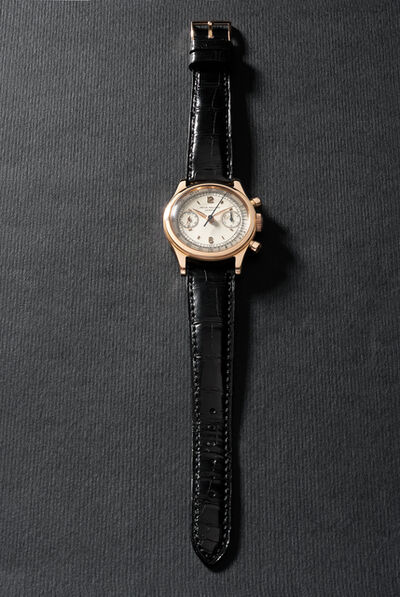 Patek Philippe, 'An extremely rare and highly attractive pink gold chronograph wristwatch with two-tone dial and tachymeter scale', 1952