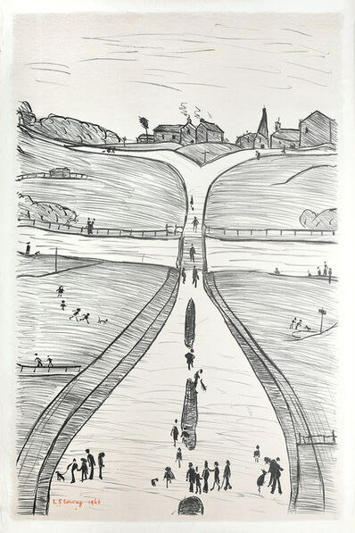 Laurence Stephen Lowry, 'A Village on a Hill', 1966