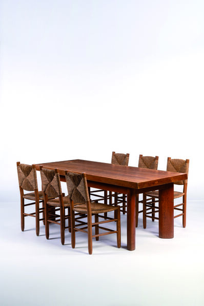 René Martin, 'Six chairs and a table in oak', vers 1960