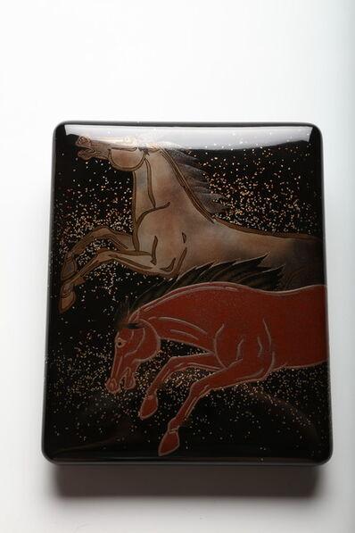 """Kakutaro Yamazaki, 'Writing Box with Galloping Horses, Named """"Yakushin"""" (Onrush) (T-3951)', Showa era (1926–1989)-1970s–1980s"""
