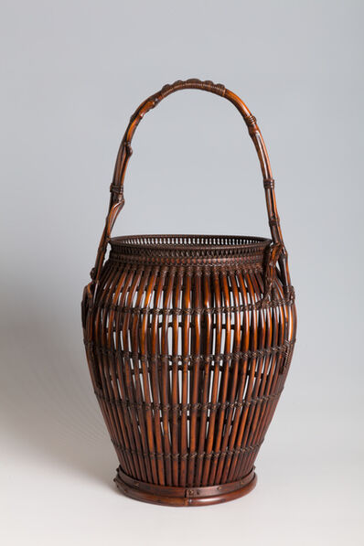 Maeda Chikubōsai I, 'Flower Basket with Natural Bamboo Handle, in the Form of a Cluster Fig (T-2304) ', Showa era (1926, 1989), 1942