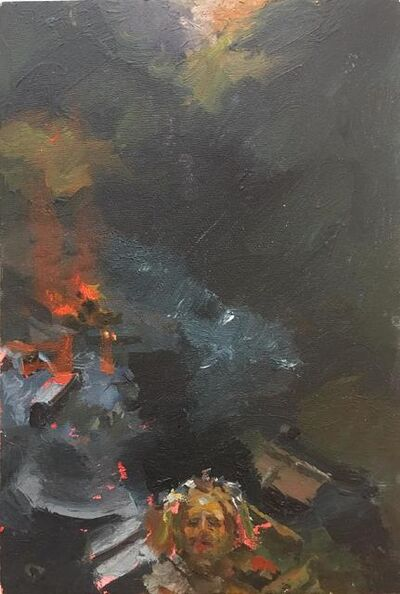 Susanna Coffey, 'Self-Portrait with Jersey Barriers', 2014