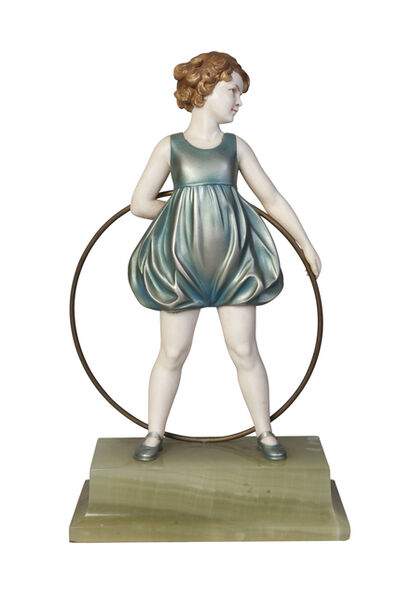 Ferdinand Preiss, ''Hoop Girl', a cold-painted bronze and ivory figure', c.1930