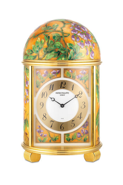 "Patek Philippe, 'An extremely fine and unique gilt brass quartz dome clock with polychrome cloisonné enamel scene ""Golden Pheasants"", with certificate of origin', 2009"