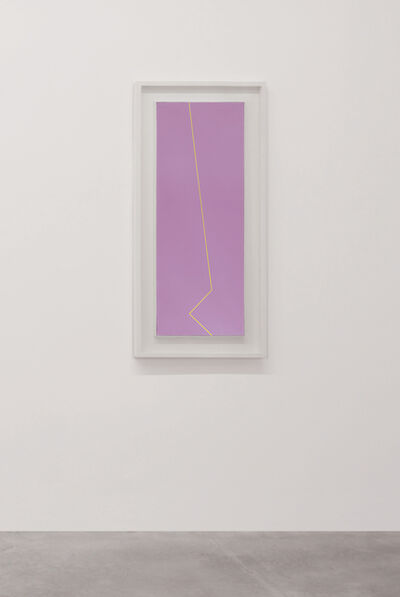Mario Nigro, 'Fondo rosso viola linea gialla ocra', 1980
