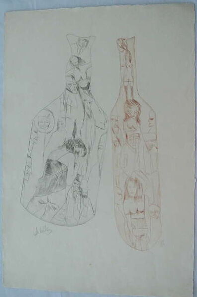 Zvi Milshtein, 'Untitled Surrealist Etching with Bottles and Nudes', 20th Century