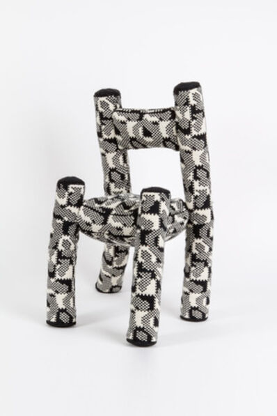 "Katie Stout, '""Stuffed Chair"" in graphic black and white knit', ca. 2010"