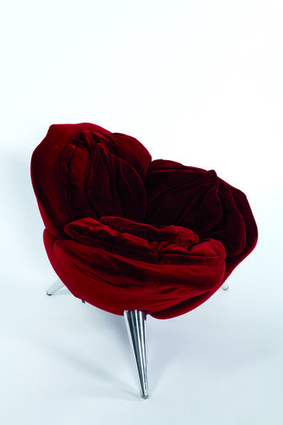 Masanori Umeda, '« Rose » armchair in velvet and brushed aluminum', 1990