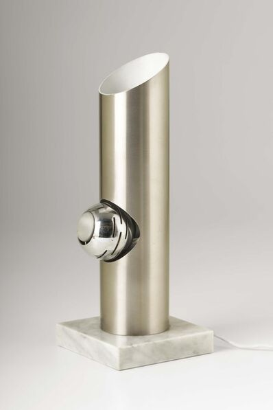 Angelo Lelli, 'A table lamp with a steel structure, a swiveling magnet diffuser and a marble base', 1960 ca.