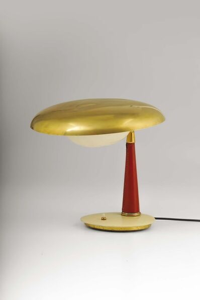 Angelo Lelli, 'A table lamp in shiny brass, painted brass and leather details', 1950 ca.