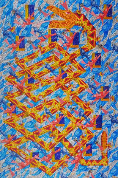 Andrew Schoultz, 'Serpent with Blue Birds (Facade)', 2018-2020