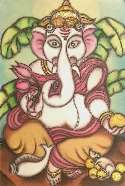 "Prokash Karmakar, 'Ganesha, Pastel on Board, Green, Pink, Orange Colours by Modern Indian Artist ""In Stock""', 2000-2014"