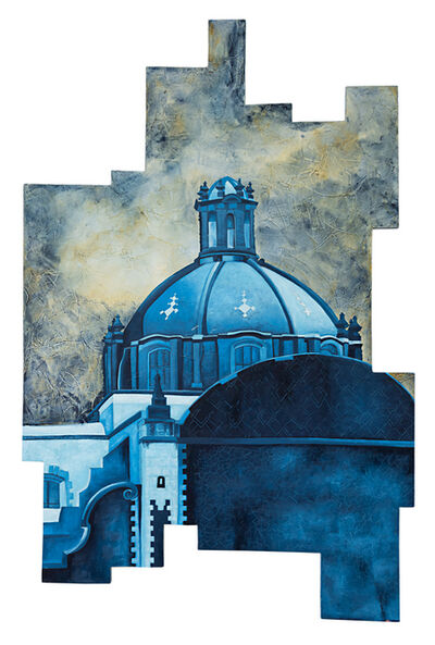 Cecilia Villanueva, 'Green Dome, Mexico City Architecture, blue, green, texture sky like watercolor, perspective, white, yellow soft tones, cityscape postmodern realism, irregular woodcut, conceptual art', 2019