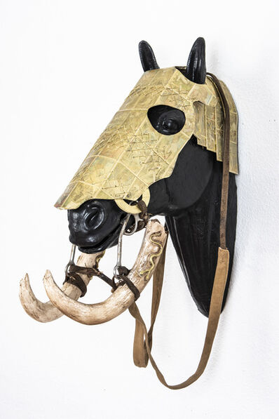 Joshua Goode, ''Horse Head Armor with Carved Baby Mammoth Tusk Bridle'', 2018