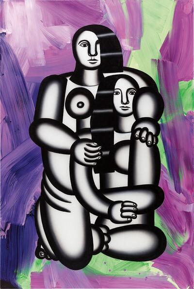 Anselm Reyle, 'Les deux figures (nues sur fond abstrait turbulent)', 2006