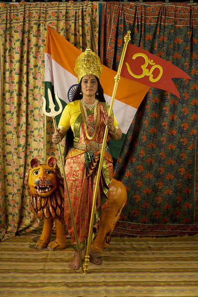 Pushpamala N., 'Motherland - Studio photograph with Flag, Trishool and Om ', 2009