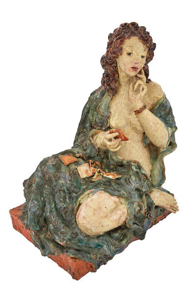 Susi Singer-Schinnerl, 'Hand-Painted and Glazed Terracotta Seated Figure of a Semi-Nude Woman Playing Cards', Second quarter of the 20th century