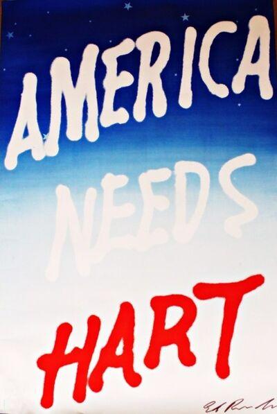 Ed Ruscha, 'America Needs Hart (Signed) ', 1983