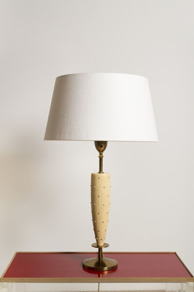 Tommi Parzinger, 'Table lamp in wood with pearl insets, brass', ca. 1965