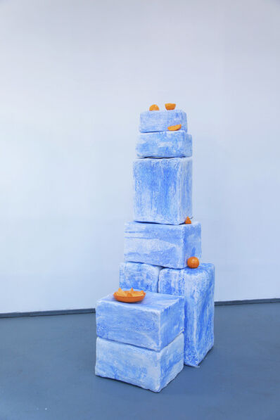 Emilie Gossiaux, 'Orange on Blue Stacks', 2017