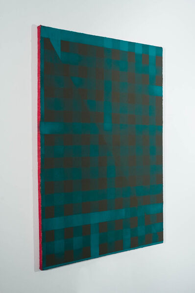Cheryl Donegan, 'Untitled (teal and deep khaki on red)', 2014