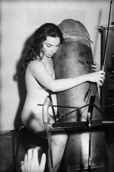 Thomas Tilly, 'Charlotte Moorman performs Aria 4 of Nam June Paik's Opera Sextronique, Düsseldorf, West Germany, October 7', 1968