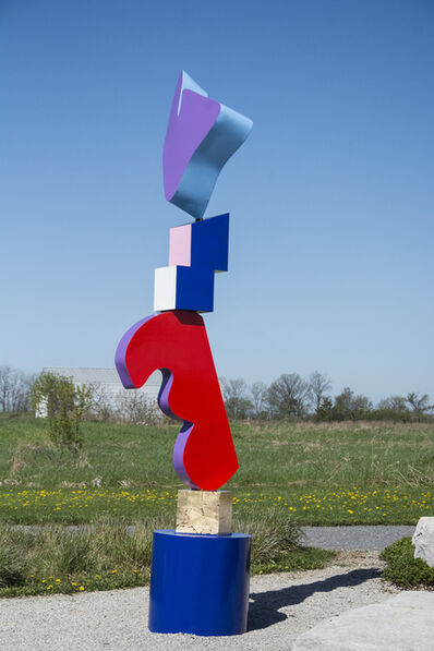 Viktor Mitic, 'Abstract Outdoor Sculpture Totem Glossy Gold with Purple Heart by Viktor Mitic', 2018
