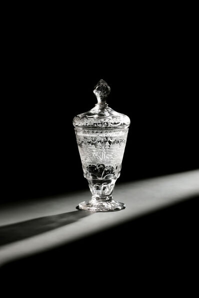 Baroque glass, 'Goblet and Cover engraved with coat of arms of Freiherren of Kanitz', 1740