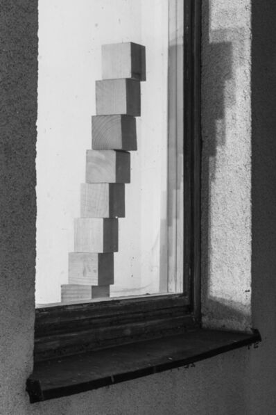 Peter Puklus, 'Eight wooden blocks arranged to form a stairway behind a window', 2014