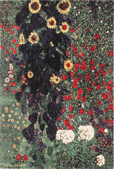 Gustav Klimt, 'Vintage Scandinavian Farm Garden With Sunflowers Rug by Gustav Klimt', ca. 1970