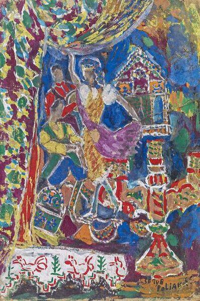 Hans Purrmann, 'Obststillleben mit Chiantiflasche', 1925